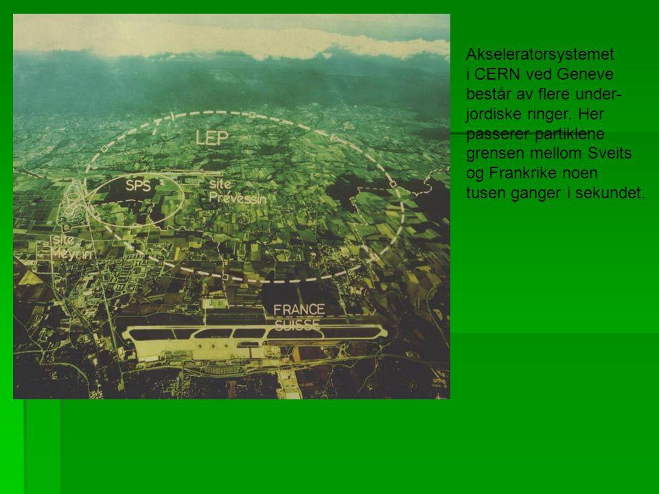 Akseleratorsystemet i CERN ved Geneve består av flere under- jordiske ringer.
