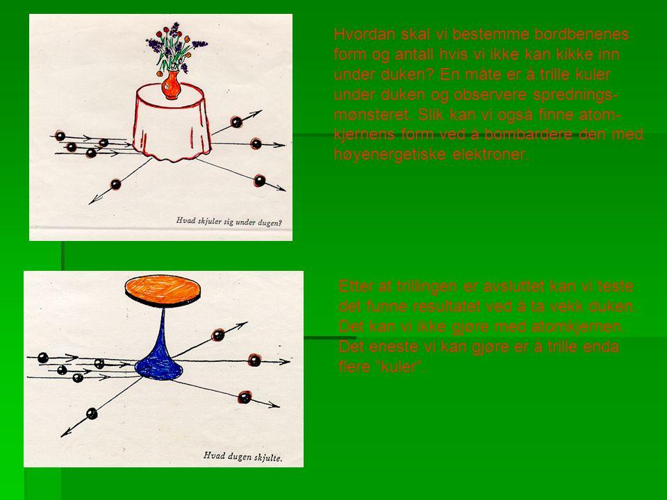Hvordan skal vi bestemme bordbenenes form og antall hvis vi ikke kan kikke inn under duken? En måte er å trille kuler under duken og observere spredni