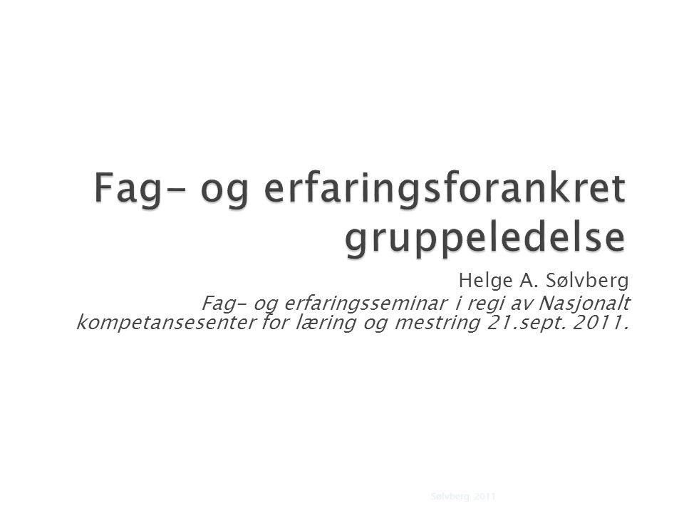 Helge A. Sølvberg Fag- og erfaringsseminar i regi av Nasjonalt kompetansesenter for læring og mestring 21.sept. 2011. Sølvberg 20111