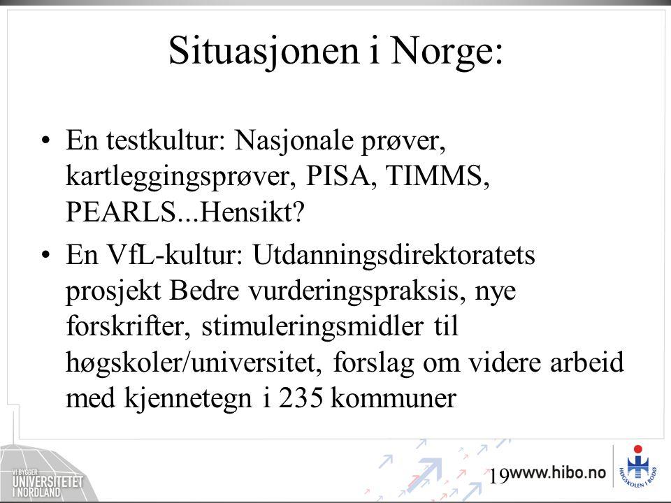 19 Situasjonen i Norge: •En testkultur: Nasjonale prøver, kartleggingsprøver, PISA, TIMMS, PEARLS...Hensikt.