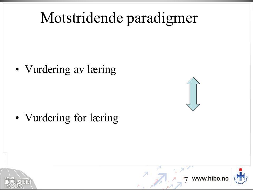 7 Motstridende paradigmer •Vurdering av læring •Vurdering for læring
