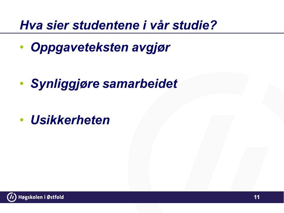 Hva sier studentene i vår studie? •Oppgaveteksten avgjør •Synliggjøre samarbeidet •Usikkerheten 11