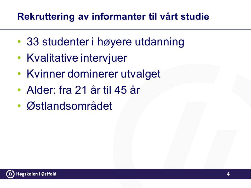 Rekruttering av informanter til vårt studie •33 studenter i høyere utdanning •Kvalitative intervjuer •Kvinner dominerer utvalget •Alder: fra 21 år til
