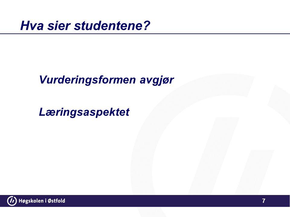 Hva sier studentene? Vurderingsformen avgjør Læringsaspektet 7