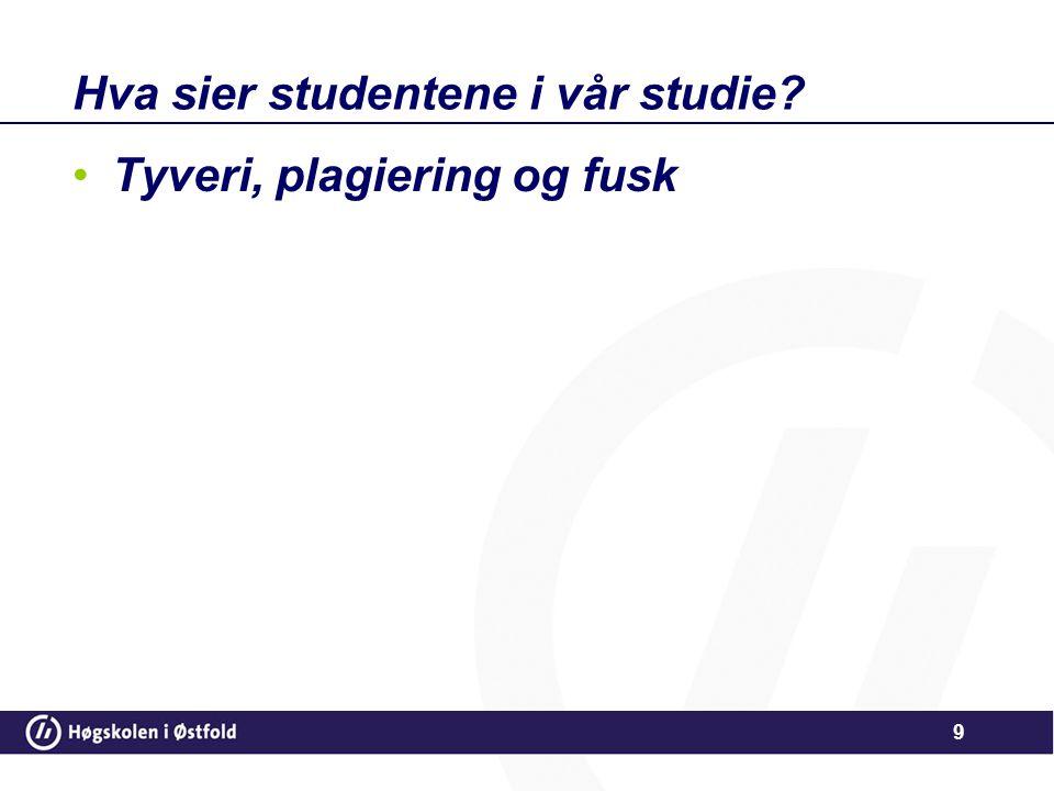 Hva sier studentene i vår studie? •Tyveri, plagiering og fusk 9
