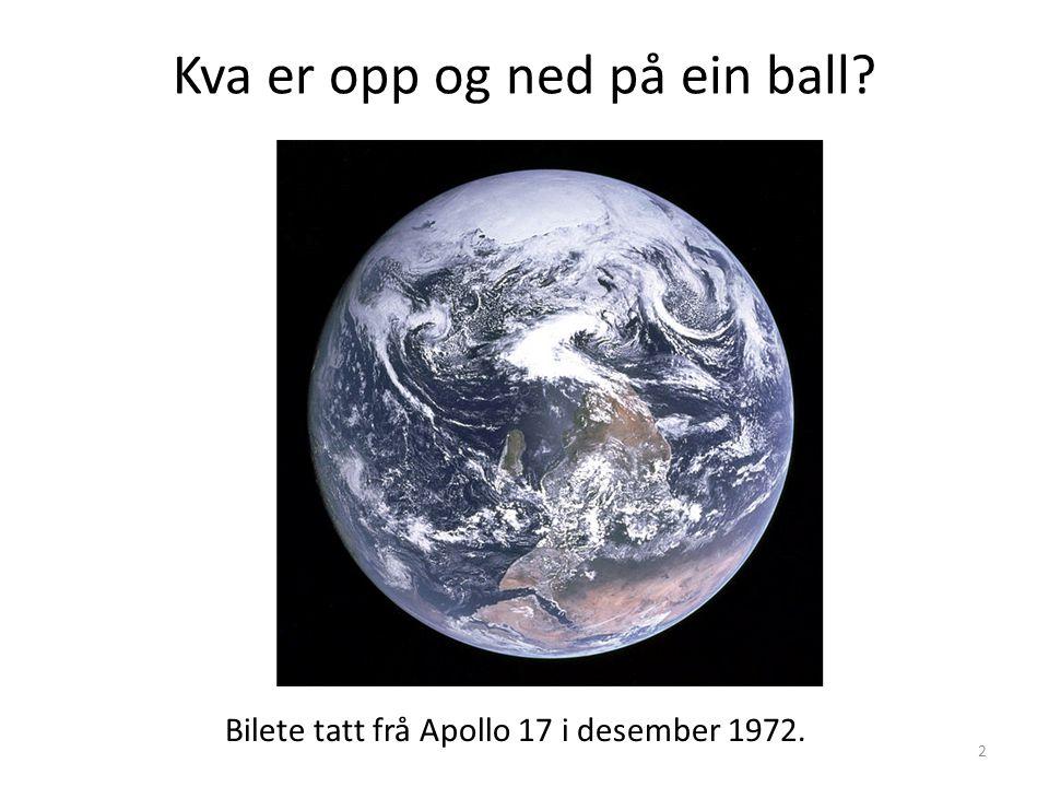 Kva er opp og ned på ein ball? Bilete tatt frå Apollo 17 i desember 1972. 2