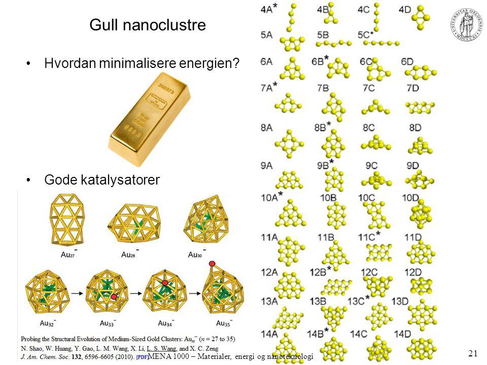 Gull nanoclustre •Hvordan minimalisere energien? •Gode katalysatorer 21 MENA 1000 – Materialer, energi og nanoteknologi
