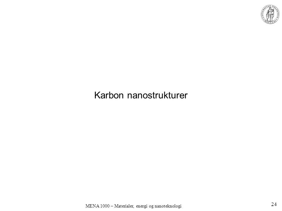 Karbon nanostrukturer MENA 1000 – Materialer, energi og nanoteknologi 24