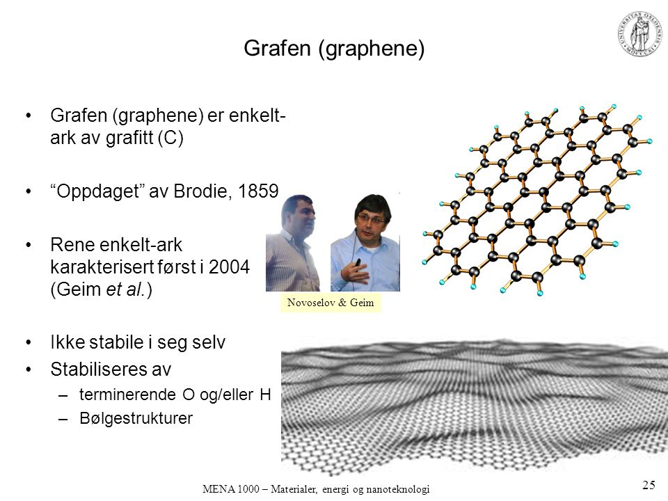 """MENA 1000 – Materialer, energi og nanoteknologi Grafen (graphene) •Grafen (graphene) er enkelt- ark av grafitt (C) •""""Oppdaget"""" av Brodie, 1859 •Rene e"""