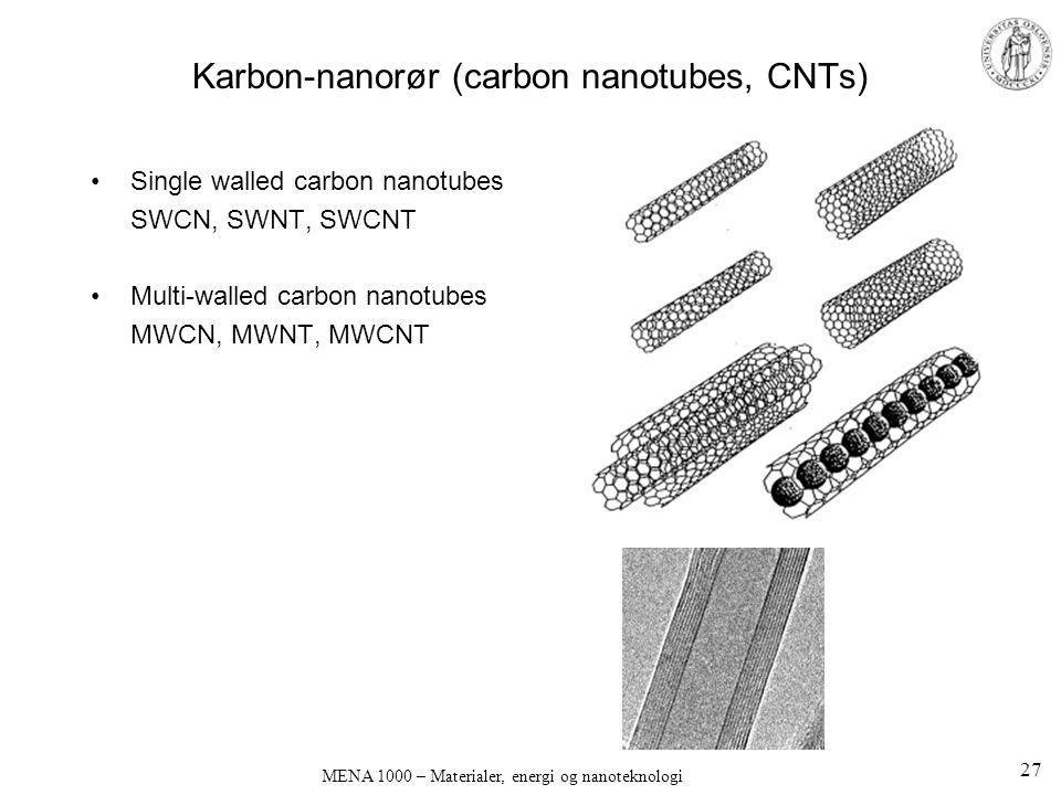 MENA 1000 – Materialer, energi og nanoteknologi Karbon-nanorør (carbon nanotubes, CNTs) •Single walled carbon nanotubes SWCN, SWNT, SWCNT •Multi-walle