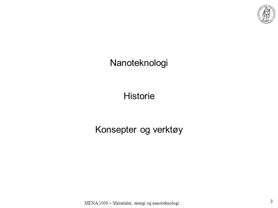Nanoteknologi Historie Konsepter og verktøy MENA 1000 – Materialer, energi og nanoteknologi 3