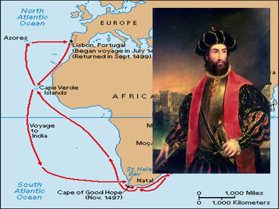 Amerika • I 1492 ble det muslimske Granada erobret av spanske styrker • De spanske monarkene kunne nå kaste seg inn i kappløpet om å finne snarveier til Asia • Kristoffer Columbus fra Genova mente han kunne nå Asia via Atlanterhavet • De spanske monarkene støttet hans ideer, og 12 oktober 1492 ankom han Bahamas-øyene • Trodde han hadde nådd India, og kalte innbyggerne indianere • Han brakte med seg folk, varer og gull tilbake til Spania • I årene som fulgte ble det gjennomført flere ekspedisjoner