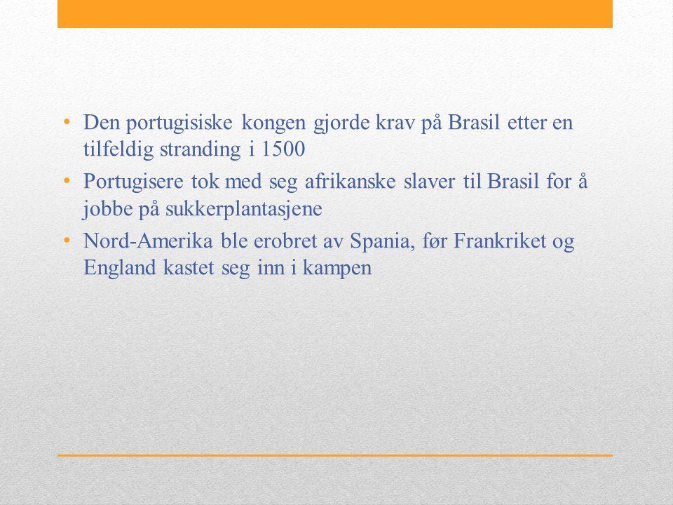 • Den portugisiske kongen gjorde krav på Brasil etter en tilfeldig stranding i 1500 • Portugisere tok med seg afrikanske slaver til Brasil for å jobbe på sukkerplantasjene • Nord-Amerika ble erobret av Spania, før Frankriket og England kastet seg inn i kampen