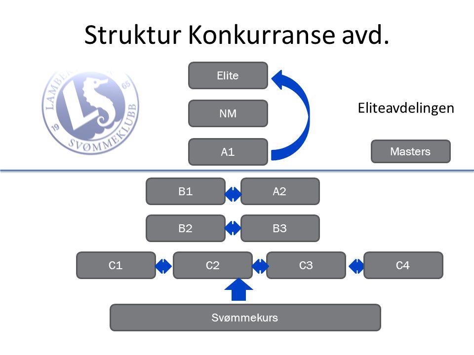 Struktur Konkurranse avd. B3B2 A2B1 A1 NM Elite C1C2C3 Svømmekurs Masters C4 Eliteavdelingen