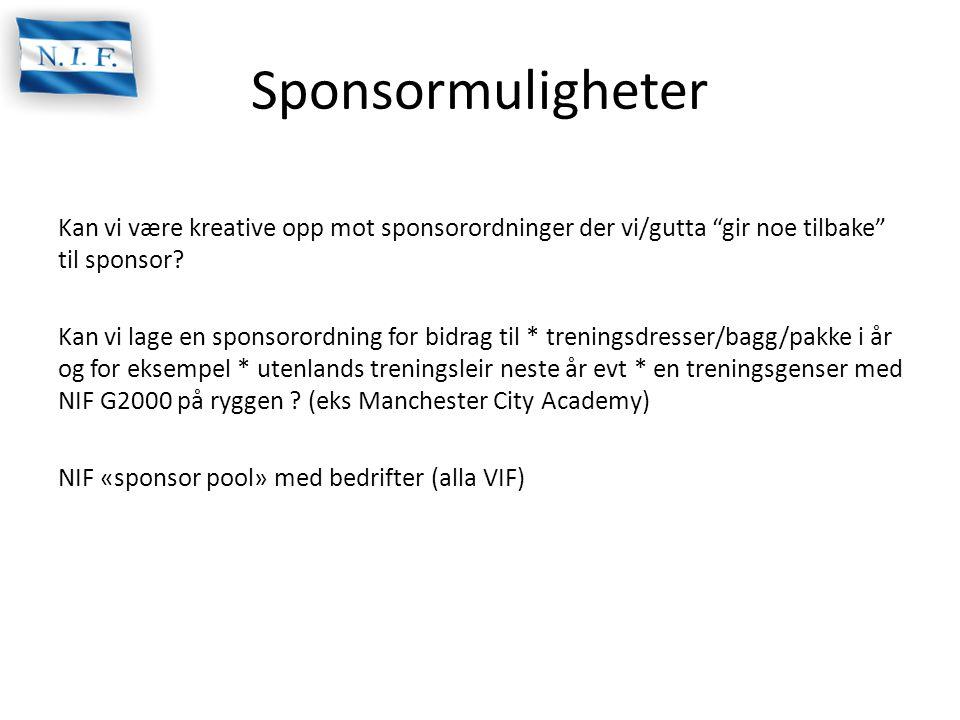 """Sponsormuligheter Kan vi være kreative opp mot sponsorordninger der vi/gutta """"gir noe tilbake"""" til sponsor? Kan vi lage en sponsorordning for bidrag t"""
