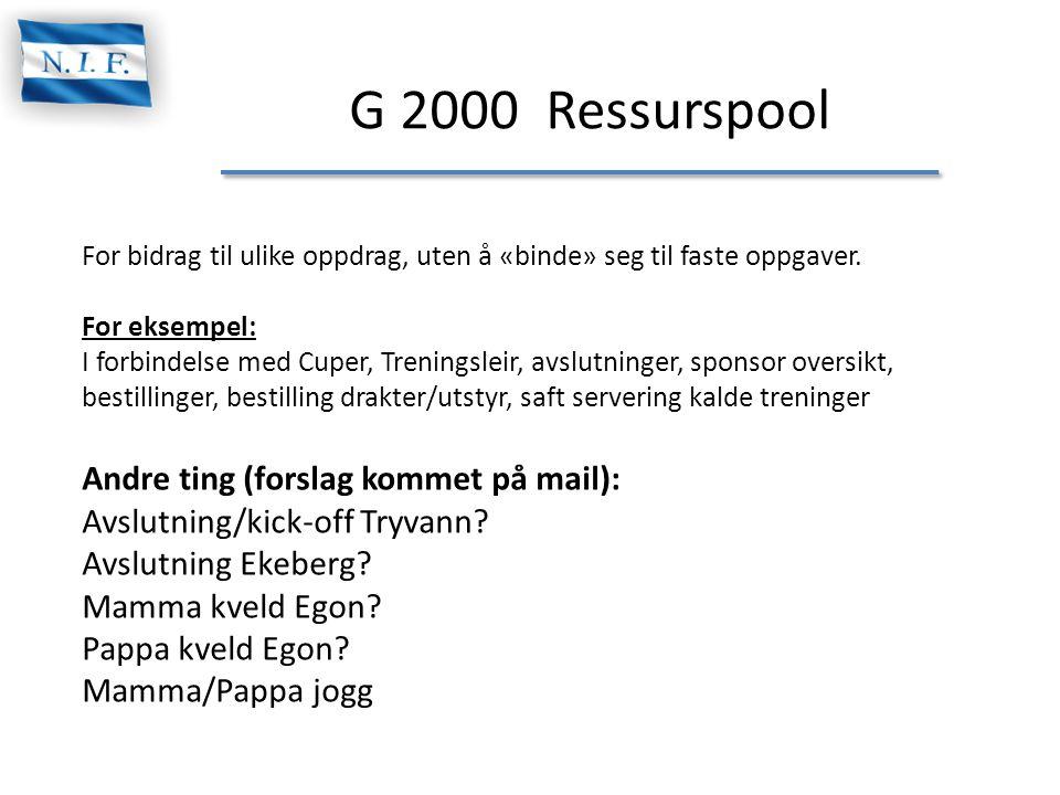 G 2000 Ressurspool For bidrag til ulike oppdrag, uten å «binde» seg til faste oppgaver. For eksempel: I forbindelse med Cuper, Treningsleir, avslutnin