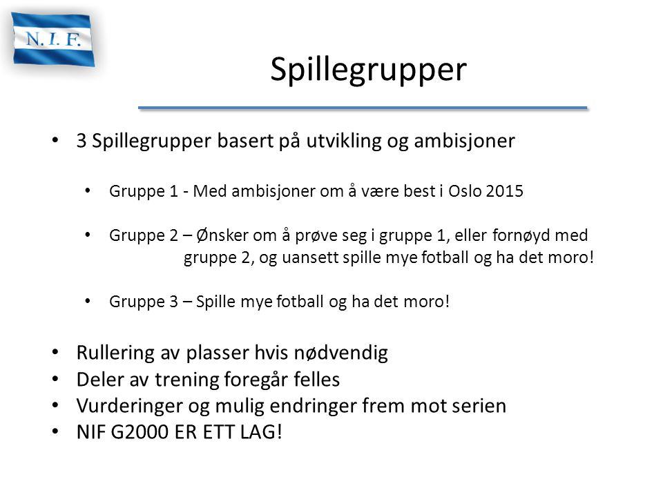 Spillegrupper • 3 Spillegrupper basert på utvikling og ambisjoner • Gruppe 1 - Med ambisjoner om å være best i Oslo 2015 • Gruppe 2 – Ønsker om å prøv