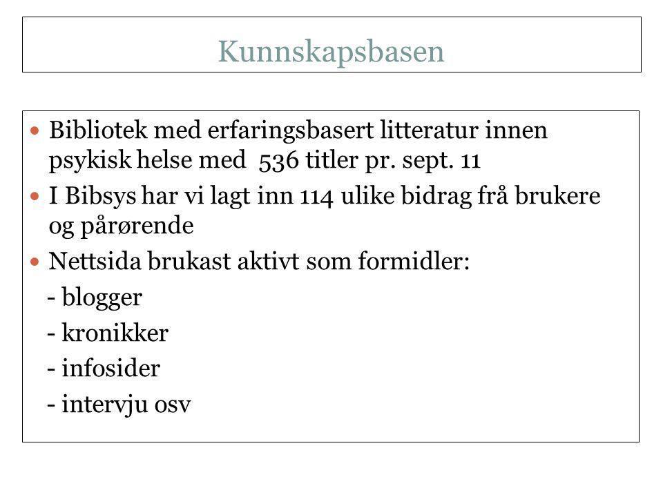 Kunnskapsbasen NKLMS 21.09.11  Bibliotek med erfaringsbasert litteratur innen psykisk helse med 536 titler pr.