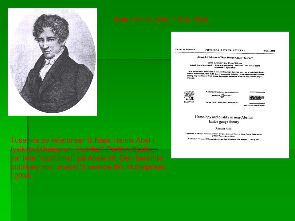 """Niels Henrik Abel, 1802-1829. Tusenvis av referanser til Niels Henrik Abel i fysikkpublikasjoner. Hvorfor? Partikkelfysikk var ikke """"oppfunnet"""" på Abe"""