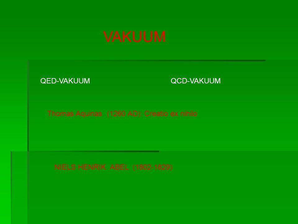 VAKUUM QED-VAKUUMQCD-VAKUUM Thomas Aquinas (1260 AD): Creatio ex nihilo NIELS HENRIK ABEL (1802-1829)
