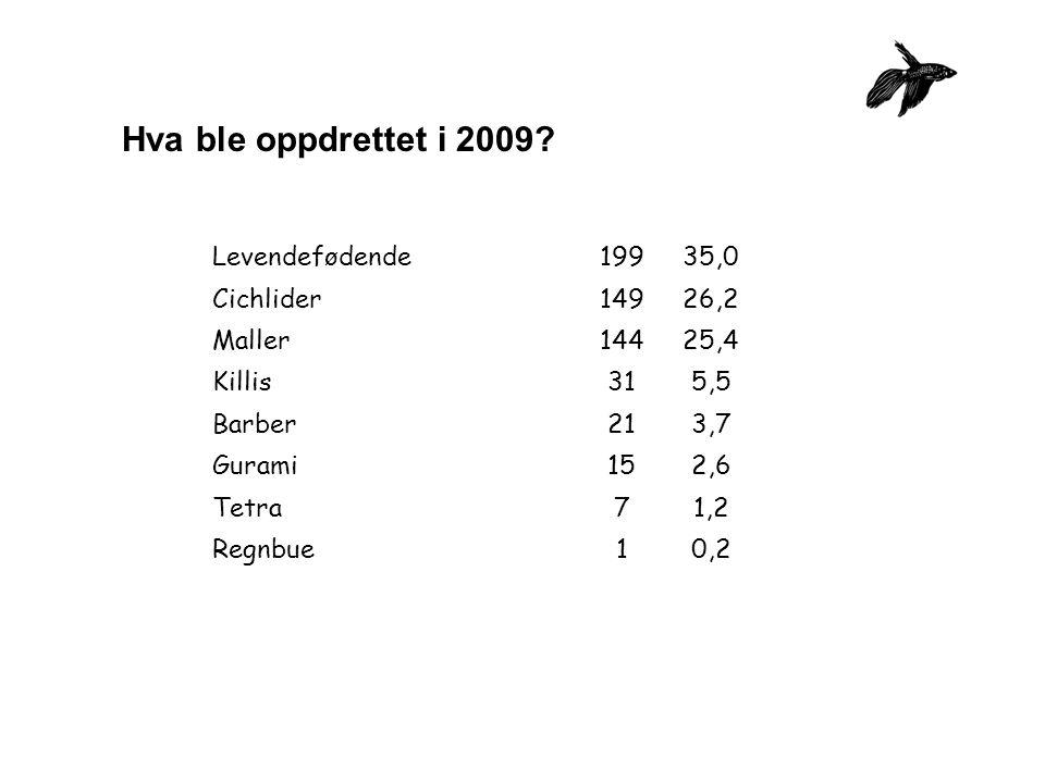 Hva ble oppdrettet i 2009.