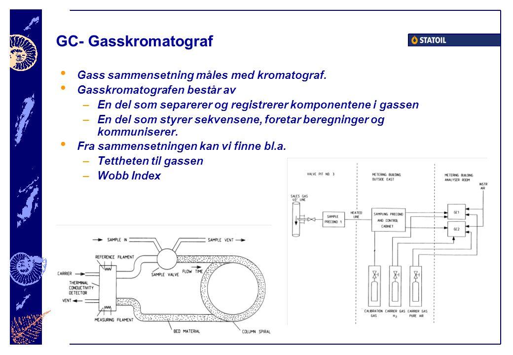 GC- Gasskromatograf • Gass sammensetning måles med kromatograf.