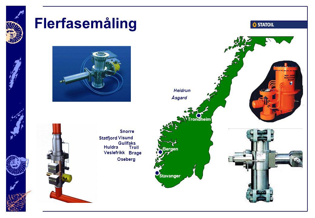 Flerfasemåling Troll Brage Stavanger Trondheim Visund Gullfaks Bergen Åsgard Oseberg Snorre Heidrun Statfjord Huldra Veslefrikk