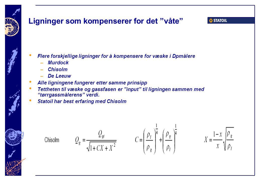 Ligninger som kompenserer for det våte • Flere forskjellige ligninger for å kompensere for væske i Dpmålere –Murdock –Chisolm –De Leeuw • Alle ligningene fungerer etter samme prinsipp • Tettheten til væske og gassfasen er input til ligningen sammen med tørrgassmålerens verdi.