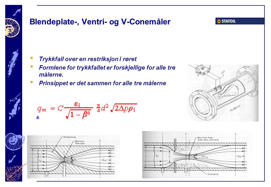 Blendeplate-, Ventri- og V-Conemåler • Trykkfall over en restriksjon i røret • Formlene for trykkfallet er forskjellige for alle tre målerne.