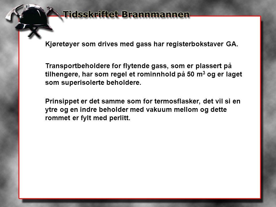 Kjøretøyer som drives med gass har registerbokstaver GA. Transportbeholdere for flytende gass, som er plassert på tilhengere, har som regel et rominnh