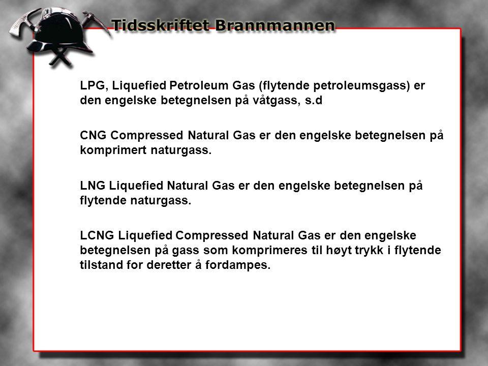 LPG, Liquefied Petroleum Gas (flytende petroleumsgass) er den engelske betegnelsen på våtgass, s.d CNG Compressed Natural Gas er den engelske betegnelsen på komprimert naturgass.