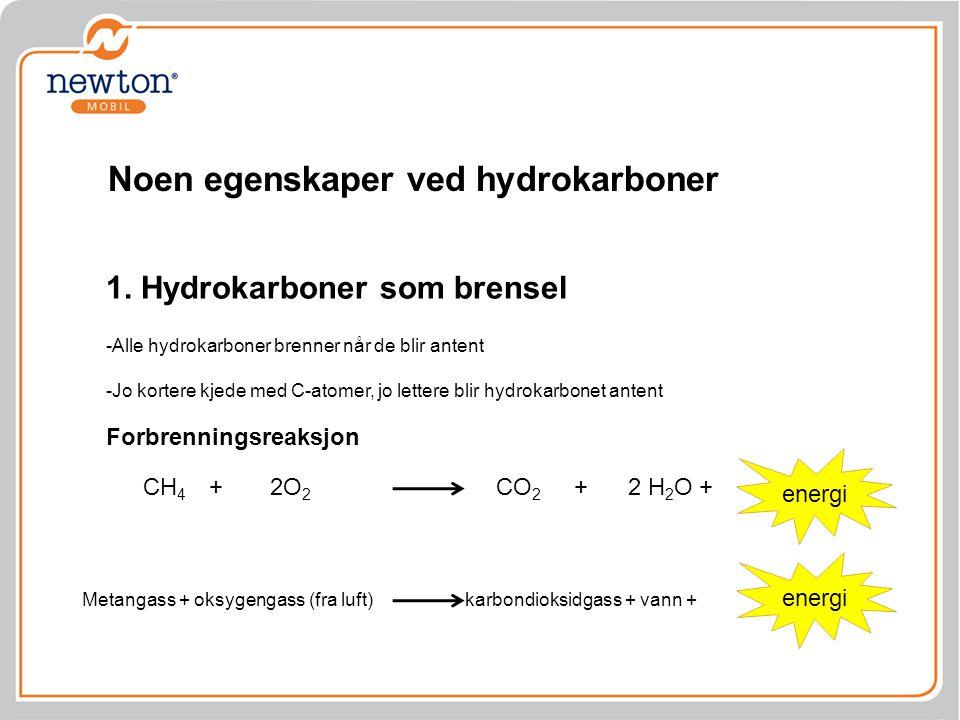 CH 4 + 2O 2 CO 2 + 2 H 2 O + energi Forbrenningsreaksjon 1. Hydrokarboner som brensel -Alle hydrokarboner brenner når de blir antent -Jo kortere kjede
