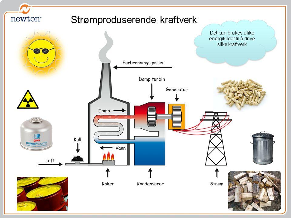 Strømproduserende kraftverk Det kan brukes ulike energikilder til å drive slike kraftverk