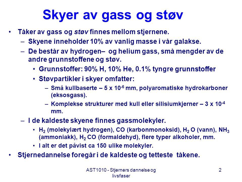 AST1010 - Stjerners dannelse og livsfaser 2 Skyer av gass og støv •Tåker av gass og støv finnes mellom stjernene. –Skyene inneholder 10% av vanlig mas
