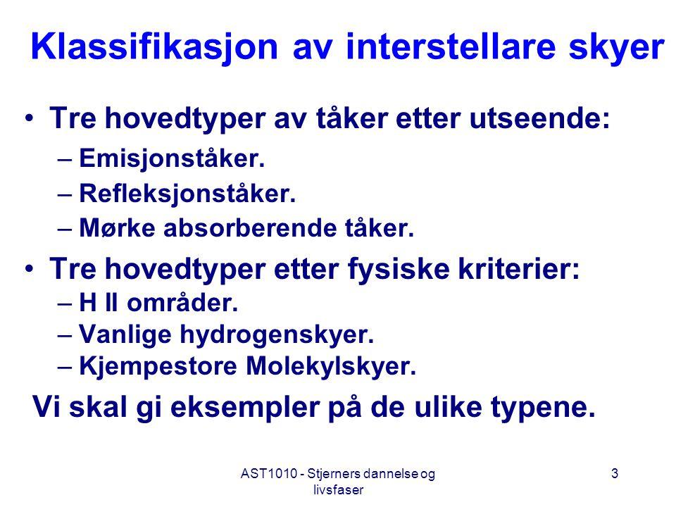 AST1010 - Stjerners dannelse og livsfaser 3 Klassifikasjon av interstellare skyer •Tre hovedtyper av tåker etter utseende: –Emisjonståker. –Refleksjon