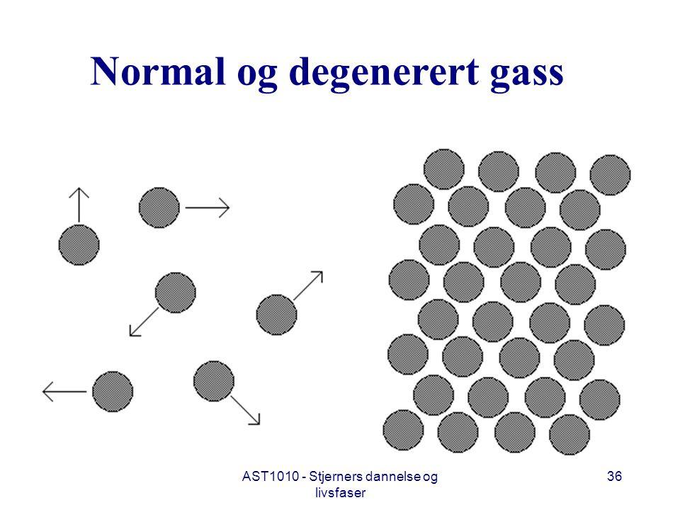 AST1010 - Stjerners dannelse og livsfaser 36 Normal og degenerert gass