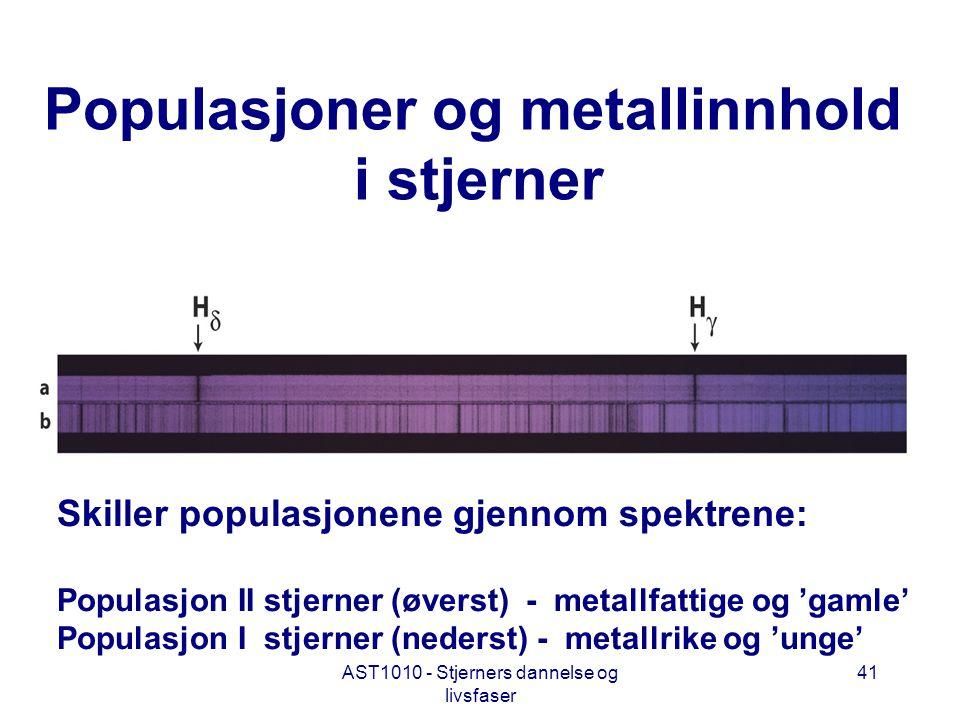 AST1010 - Stjerners dannelse og livsfaser 41 Populasjoner og metallinnhold i stjerner Skiller populasjonene gjennom spektrene: Populasjon II stjerner