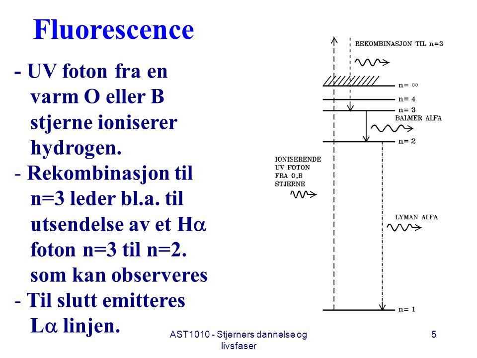 AST1010 - Stjerners dannelse og livsfaser 5 Fluorescence - UV foton fra en varm O eller B stjerne ioniserer hydrogen. - Rekombinasjon til n=3 leder bl