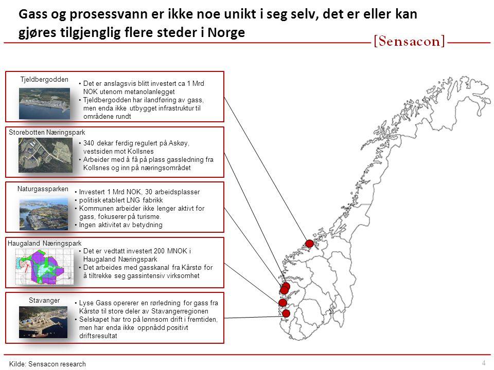 4 Gass og prosessvann er ikke noe unikt i seg selv, det er eller kan gjøres tilgjenglig flere steder i Norge Naturgassparken Stavanger •Investert 1 Mrd NOK, 30 arbeidsplasser •politisk etablert LNG fabrikk •Kommunen arbeider ikke lenger aktivt for gass, fokuserer på turisme.