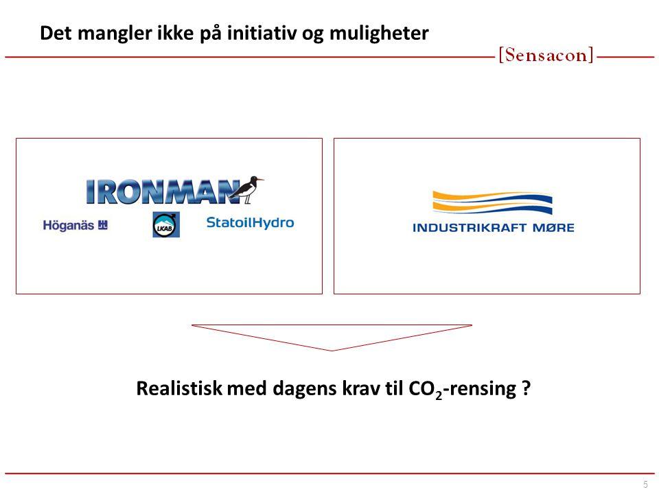 5 Det mangler ikke på initiativ og muligheter Realistisk med dagens krav til CO 2 -rensing ?