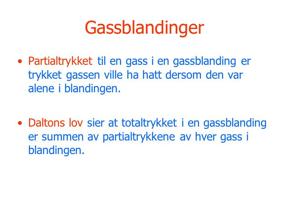 Gassblandinger •Partialtrykket til en gass i en gassblanding er trykket gassen ville ha hatt dersom den var alene i blandingen.