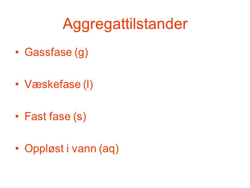 Aggregattilstander •Gassfase (g) •Væskefase (l) •Fast fase (s) •Oppløst i vann (aq)
