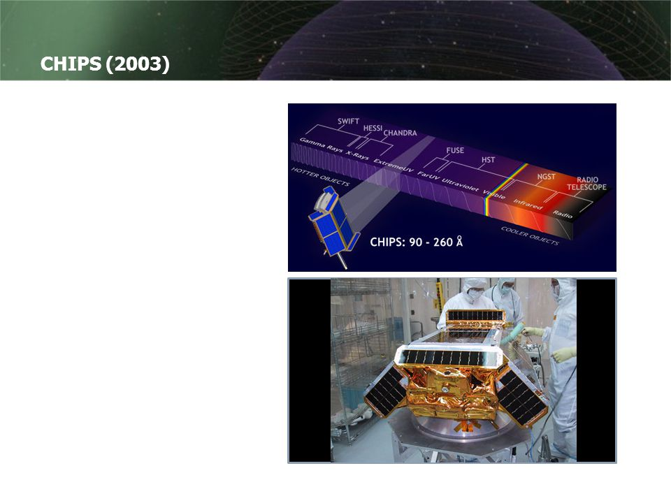 CHIPS (2003) CHIPS står for Cosmic Hot Interstellar Plasma Spectrometer Sendt opp i januar 2003 for å kartlegge stråling i ekstremUV-båndet, dvs. strå