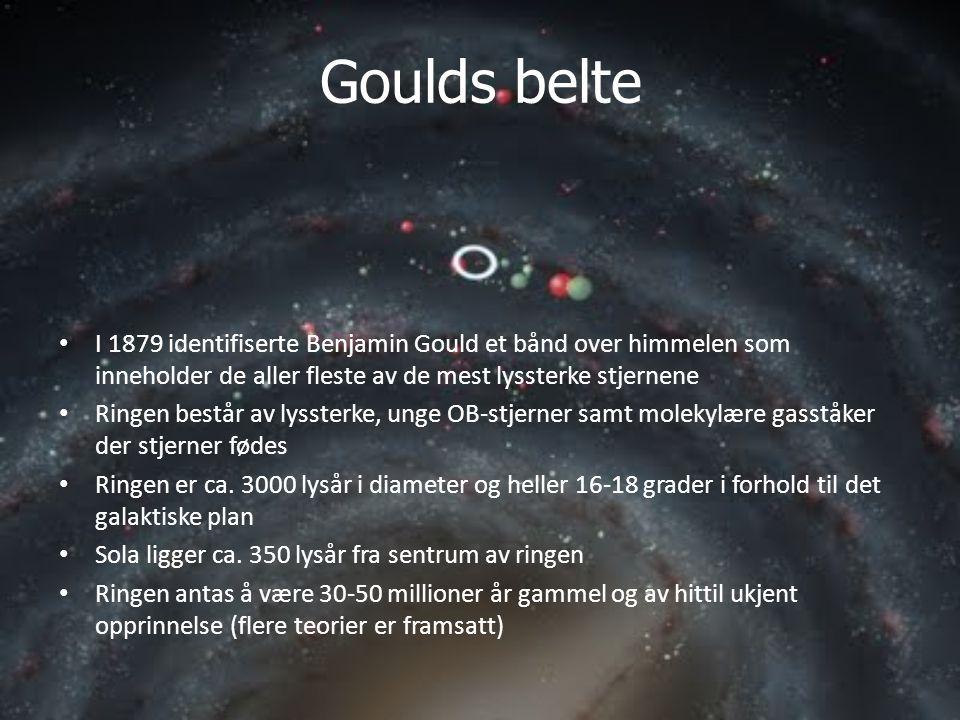 Goulds belte • I 1879 identifiserte Benjamin Gould et bånd over himmelen som inneholder de aller fleste av de mest lyssterke stjernene • Ringen består av lyssterke, unge OB-stjerner samt molekylære gasståker der stjerner fødes • Ringen er ca.