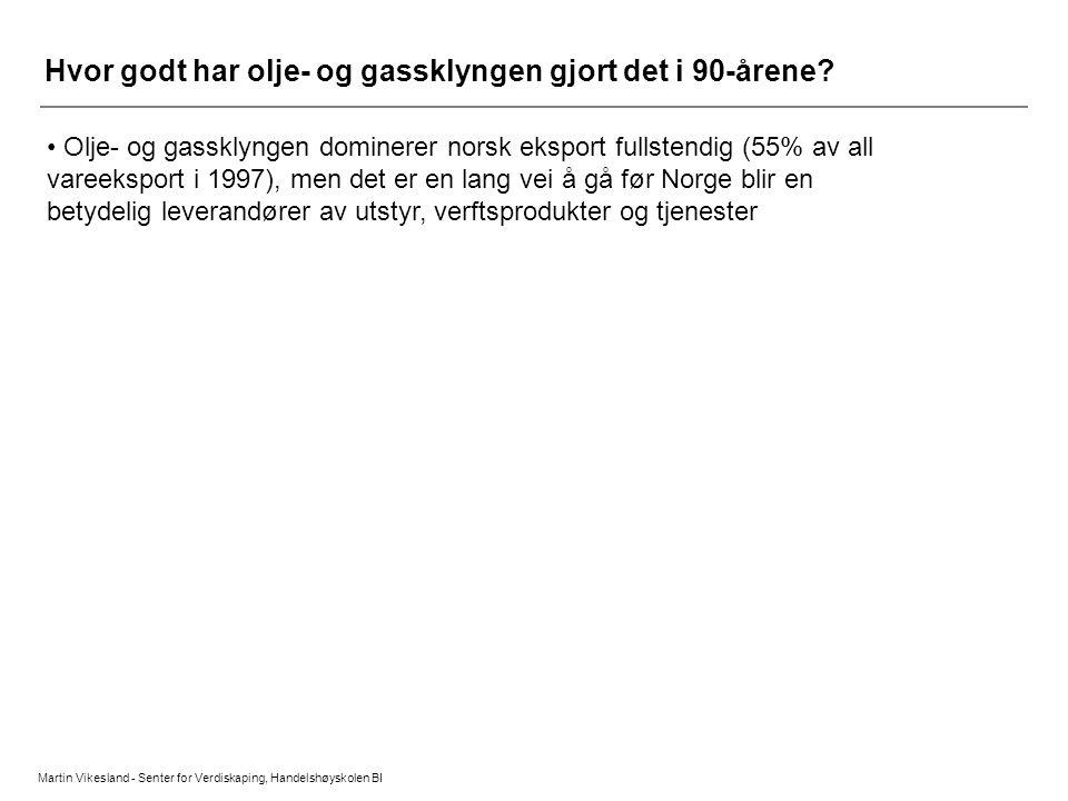Martin Vikesland - Senter for Verdiskaping, Handelshøyskolen BI Hvor godt har olje- og gassklyngen gjort det i 90-årene? • Olje- og gassklyngen domine