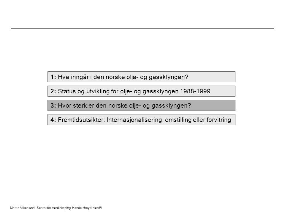 1: Hva inngår i den norske olje- og gassklyngen? 2: Status og utvikling for olje- og gassklyngen 1988-1999 3: Hvor sterk er den norske olje- og gasskl