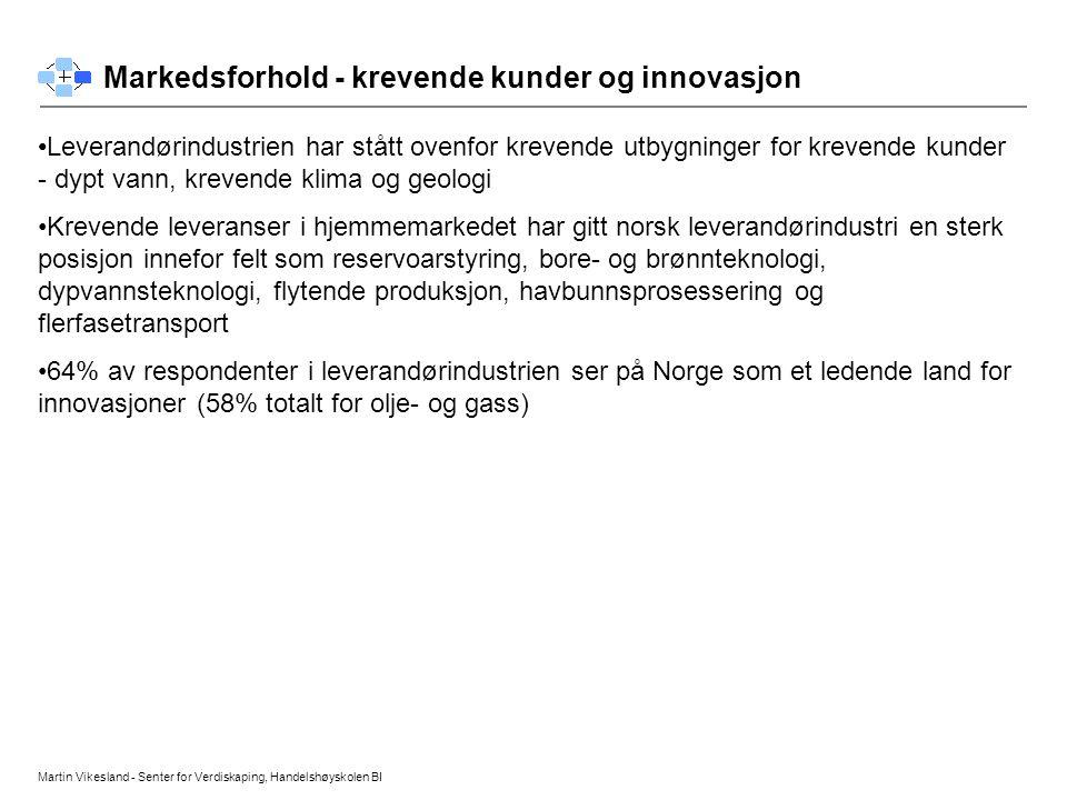 Martin Vikesland - Senter for Verdiskaping, Handelshøyskolen BI Markedsforhold - krevende kunder og innovasjon • •Leverandørindustrien har stått ovenf