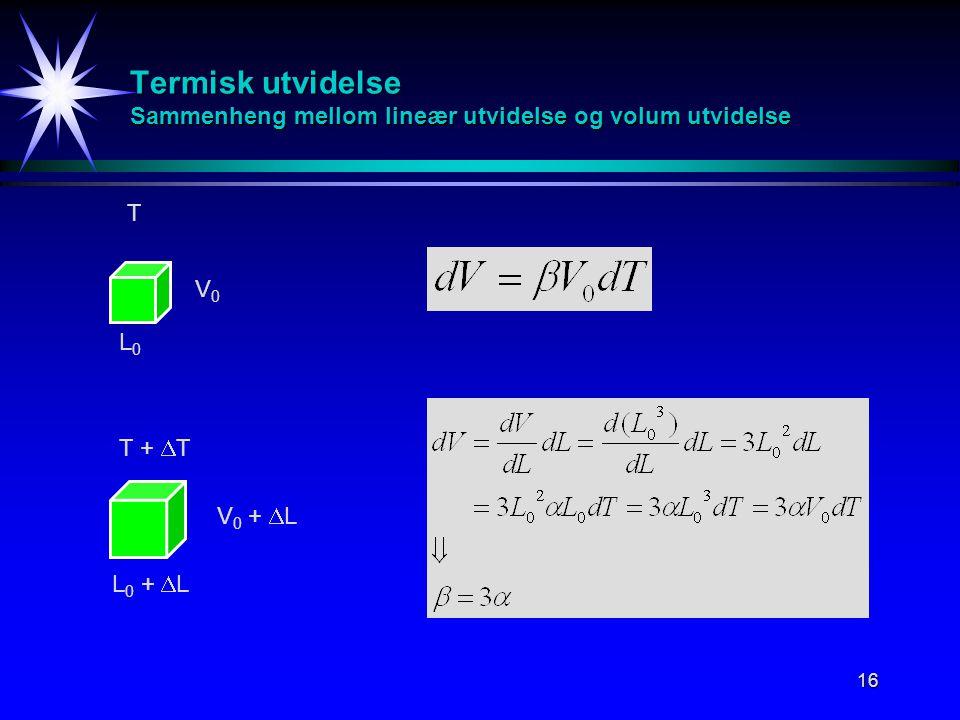 16 Termisk utvidelse Sammenheng mellom lineær utvidelse og volum utvidelse T T +  T V0V0 V 0 +  L L 0 +  L L0L0
