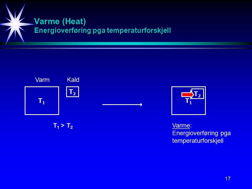 17 Varme (Heat) Energioverføring pga temperaturforskjell T1T1 T2T2 T 1 > T 2 VarmKald T1T1 T2T2 Varme: Energioverføring pga temperaturforskjell