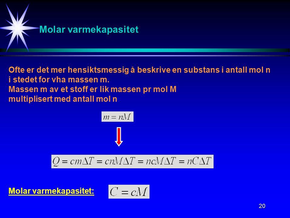 20 Molar varmekapasitet Ofte er det mer hensiktsmessig å beskrive en substans i antall mol n i stedet for vha massen m. Massen m av et stoff er lik ma